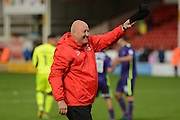 Charlton Athletic Manager Russell Slade takes off hat to salute crowd after win 1-2 during the EFL Sky Bet League 1 match between Walsall and Charlton Athletic at the Banks's Stadium, Walsall, England on 20 August 2016. Photo by Alan Franklin.