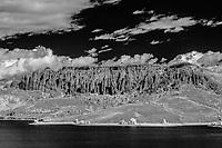 Dillon Pinacles rim Blue Mesa Reservoir in autumn; Gunnison County, CO