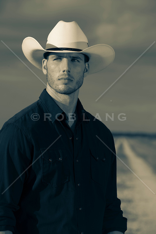 portrait of a hot  cowboy outdoors