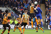 Hull City defender Michael Dawson (21) and Cardiff City defender Sean Morrison (4) battles for possession  during the EFL Sky Bet Championship match between Hull City and Cardiff City at the KCOM Stadium, Kingston upon Hull, England on 28 April 2018. Picture by Mick Atkins.