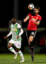 """Manchester United's Michael Carrick (right) in action during the Emirates FA Cup, fourth round match at Huish Park, Yeovil. PRESS ASSOCIATION Photo. Picture date: Friday January 26, 2018. See PA story SOCCER Yeovil. Photo credit should read: Nick Potts/PA Wire. RESTRICTIONS: EDITORIAL USE ONLY No use with unauthorised audio, video, data, fixture lists, club/league logos or """"live"""" services. Online in-match use limited to 75 images, no video emulation. No use in betting, games or single club/league/player publications."""
