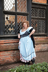 © London News Pictures. 07/02/2012.  Sandi Digby who runs tours around Rochester led by Dickensian characters including Nancy from Oliver Twist, outside Eastgate House, Rochester, Kent. Today celebrates the 200th birthday of Charles Dickens. Picture credit should read Manu Palomeque/LNP