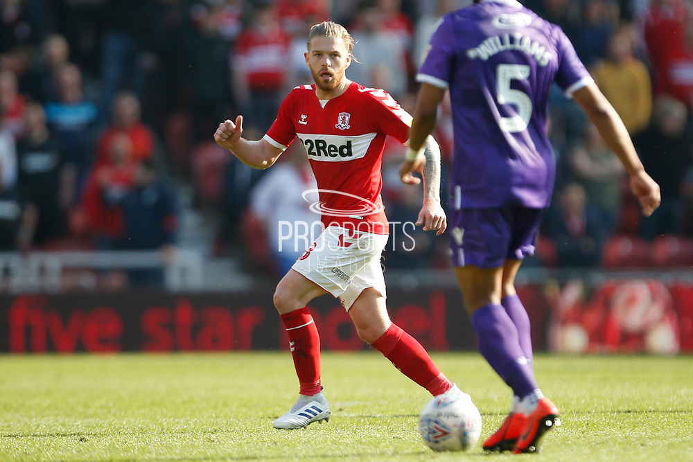 Middlesbrough midfielder Adam Clayton (8)  during the EFL Sky Bet Championship match between Middlesbrough and Stoke City at the Riverside Stadium, Middlesbrough, England on 19 April 2019.