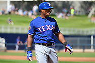 PHOENIX, AZ - MARCH 04:  Adrian Beltre #29 of the Texas Rangers smiles after being called out in the first inning of the the spring training game against the Milwaukee Brewers at Maryvale Baseball Park on March 4, 2017 in Phoenix, Arizona.  (Photo by Jennifer Stewart/Getty Images)