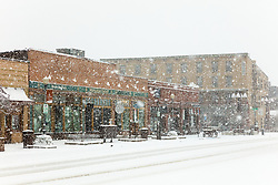 """Downtown Truckee 53"" - Photograph of historic Downtown Truckee, California shot during a snow storm."