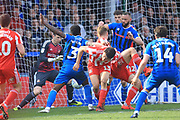 Kgosi Nthle goes close from a corner during the EFL Sky Bet League 1 match between Rochdale and Sunderland at Spotland, Rochdale, England on 6 April 2019.