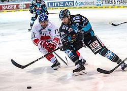 17.02.2019, Keine Sorgen Eisarena, Linz, AUT, EBEL, EHC Liwest Black Wings Linz vs HC TWK Innsbruck Die Haie, 47. Runde, im Bild v.l. Tomas Netik (HC TWK Innsbruck Die Haie), Dan DaSilva (EHC Liwest Black Wings Linz) // during the Erste Bank Eishockey League 47th round match between EHC Liwest Black Wings Linz and HC TWK Innsbruck Die Haie at the Keine Sorgen Eisarena in Linz, Austria on 2019/02/17. EXPA Pictures © 2019, PhotoCredit: EXPA/ Reinhard Eisenbauer
