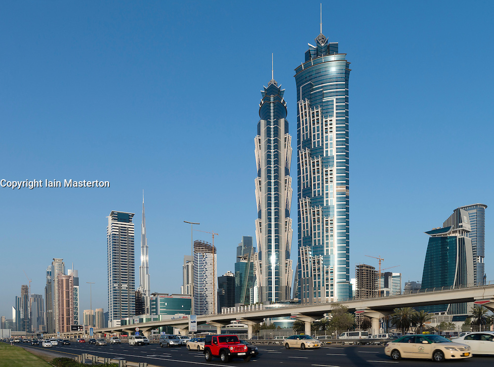 New JW Marriott Marquis hotel the tallest hotel in the world official opening February 2013 in Business Bay district Dubai UAE