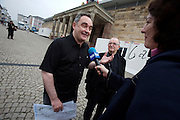 documenta12. Official photo op of documenta staff and artists at Fridericianum..Star chef Ferran Adria giving interviews.