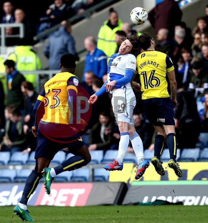 Luke James of Bristol Rovers beats Phil Edwards of Oxford United to a header - Mandatory by-line: Robbie Stephenson/JMP - 04/03/2017 - FOOTBALL - Kassam Stadium - Oxford, England - Oxford United v Bristol Rovers - Sky Bet League One