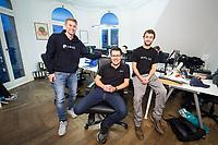 18 JAN 2018, BERLIN/GERMANY:<br /> Till Wendler (L), CEO Axiomity AG, COO nakamo.to<br /> Axiomity AG, CEO blash-trading.com GmbH, Robert A. Kuefner (M), CVO Advanced Blockchain AG und CEO nakamo.to, Florian Reike (R), Research Analyst Advanced Blockchain AG, CVO nakamo.to, in ihrem Buero Advanced Blockchain AG<br /> IMAGE: 20180118-02-006<br /> KEYWORDS: Robert A. Küfner, Start-up, Bitcoin