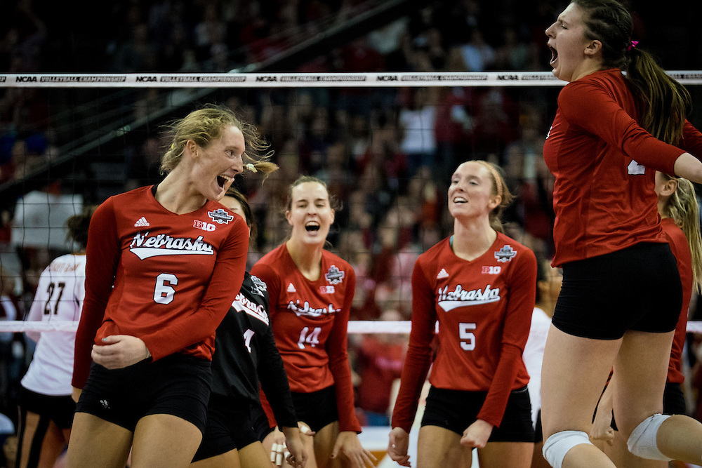 OMAHA, NE - DECEMBER 19: Outside hitter Kadie Rolfzen #6 and the Nebraska during their NCAA finals against the Texas match at the CenturyLink Center on December 19, 2015 in Omaha, Nebraska.  (Photo by Eric Francis)