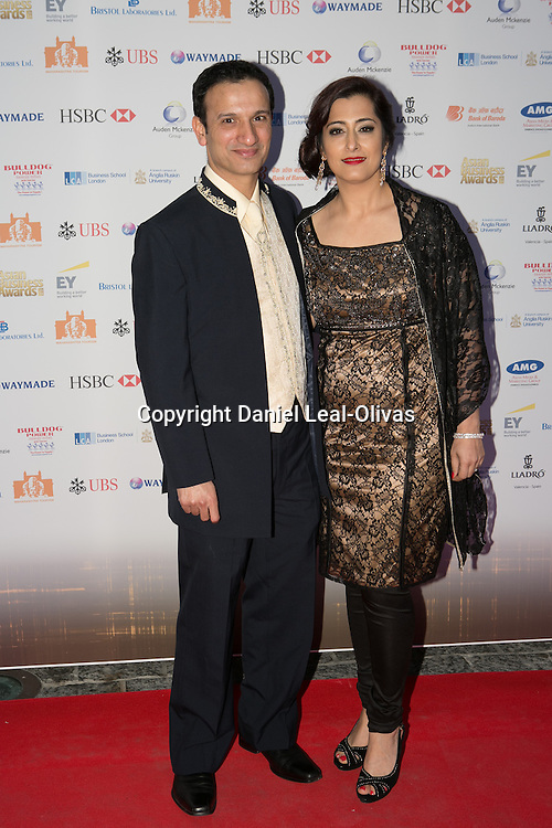 Asian Rich List Gala. Nadeem Islam and Raishma Islam attends the annual ceremony which recognises the country\'s richest Asians. Figures compiled by the Eastern Eye newspaper. Park Plaza Hotel, London, United Kingdom. Friday, 11th April 2014. Picture by Daniel Leal-Olivas / i-Images