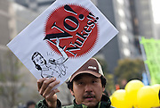Around 4,000 people take part in a demonstration against nuclear power in Tokyo, Japan on  10 April 20011. .Photographer: Robert Gilhooly