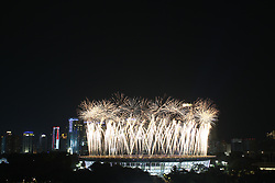 August 18, 2018 - Jakarta, Capital Region of Jakarta, Indonesia - Fireworks explode over the Gelora Bung Karno main stadium during the opening ceremony of the 2018 Asian Games in Jakarta on August 18, 2018. (Credit Image: © Aditya Irawan/NurPhoto via ZUMA Press)