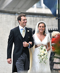NICHOLAS VAN CUTSEM and his bride ALICE HADDEN-PATON at their wedding at The Guards Chapel, Wellington Barracks, London on 14th August 2009.