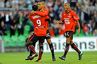 FOOTBALL - FRENCH CHAMPIONSHIP 2010/2011 - L1 - STADE RENNAIS v LILLE OSC - 07/08/2010 - PHOTO PASCAL ALLEE / DPPI - JOY ISMAEL BANGOURA (RENNES) AFTER HIS GOAL HE IS CONGRATULATED BY SYLVAIN MARVEAUX AND YACINE BRAHIMI