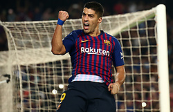October 20, 2018 - Barcelona, Catalonia, Spain - Luis Suarez celebration during the match between FC Barcelona and Sevilla CF, corresponding to the week 9 of the Liga Santander, played at the Camp Nou, on 20th October 2018, in Barcelona, Spain. (Credit Image: © Joan Valls/NurPhoto via ZUMA Press)
