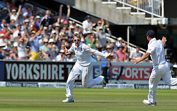 © Licensed to London News Pictures. 21/07/2013. Joe Root celebrates taking the wicket of Clarke on day 4 of the Second Test England v Australia The Ashes Lord's Cricket Ground, London on July 21, 2013. England won the match taking a 2 - 0 lead in the series. Photo credit: Mike King/LNP