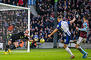 GOAL: Leondro Trossard (Brighton) scores a goal 1-0 and the ball is narrowly missed by Pepe Reina (GK) (Aston Villa) during the Premier League match between Brighton and Hove Albion and Aston Villa at the American Express Community Stadium, Brighton and Hove, England on 18 January 2020.