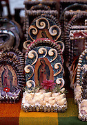 Puerto Vallarto, Mexico:A Virgin of Guadalupe shrine fashioned from seashells in Puerto Vallarta, Mexico. (Photo: Ann Summa).