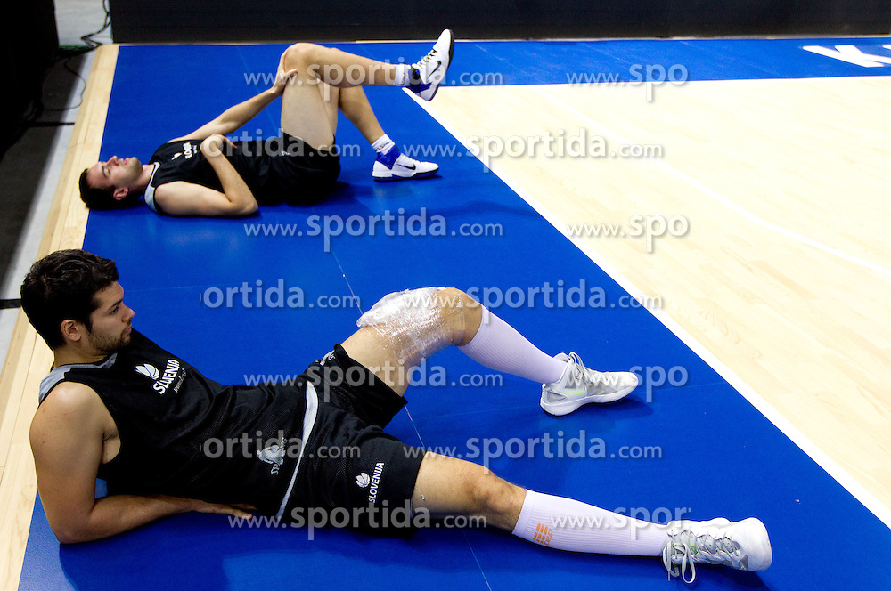Saso Ozbolt of Slovenia and Mirza Begic of Slovenia during practice session of Slovenia National basketball team at Preliminary Round of Eurobasket Lithuania 2011, on September 4, 2011, in Arena Svyturio, Klaipeda, Lithuania. (Photo by Vid Ponikvar / Sportida)