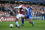 Aston Villa   defender Jordan Amavi (23)  is tackles by Birmingham City  midfielder David Davis (26)  during the EFL Sky Bet Championship match between Birmingham City and Aston Villa at St Andrews, Birmingham, England on 30 October 2016. Photo by Simon Davies.