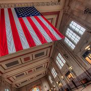 American flag hanging in interior of Union Station, Kansas City, Missouri