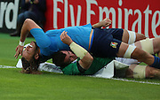 Italy's second row Josh Furno getting tackled into touch after he thought he scored during the Rugby World Cup Pool D match between Ireland and Italy at the Queen Elizabeth II Olympic Park, London, United Kingdom on 4 October 2015. Photo by Matthew Redman.