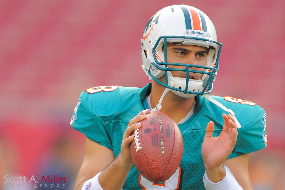 Miami Dolphins quarterback Matt Moore (8) during the Dolphins against the Tampa Bay Buccaneers at Raymond James Stadium on Aug. 27, 2011 in Tampa, Fla...(SPECIAL TO FOX SPORTS.COM/Scott A. Miller)