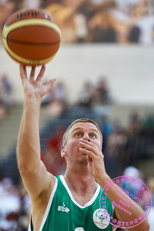 SO Hungary athlete in action while basketball match SO Hungary v SO Australia during second day of the Special Olympics World Games Los Angeles 2015 on July 26, 2015 on Galen Center at University of Southern California in Los Angeles, USA.<br /> USA, Los Angeles, July 26, 2015<br /> <br /> Picture also available in RAW (NEF) or TIFF format on special request.<br /> <br /> For editorial use only. Any commercial or promotional use requires permission.<br /> <br /> Adam Nurkiewicz declares that he has no rights to the image of people at the photographs of his authorship.<br /> <br /> Mandatory credit:<br /> Photo by &copy; Adam Nurkiewicz / Mediasport