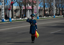 A North Korean policewoman salutes on a road in Pyongyang, North Korea, 12 April 2017. North Koreans prepare to celebrate the 'Day of the Sun Festival', 105th birthday anniversary of former North Korean supreme leader Kim Il-sung in Pyongyang on 15 April.