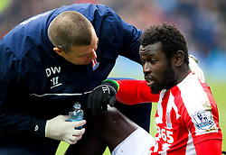 Stoke City's Mame Biram Diouf receives treatment to an eye injury -  Photo mandatory by-line: Matt McNulty/JMP - Mobile: 07966 386802 - 14/02/2015 - SPORT - Football - Blackburn - Ewood Park - Blackburn Rovers v Stoke City - FA Cup - Fifth Round