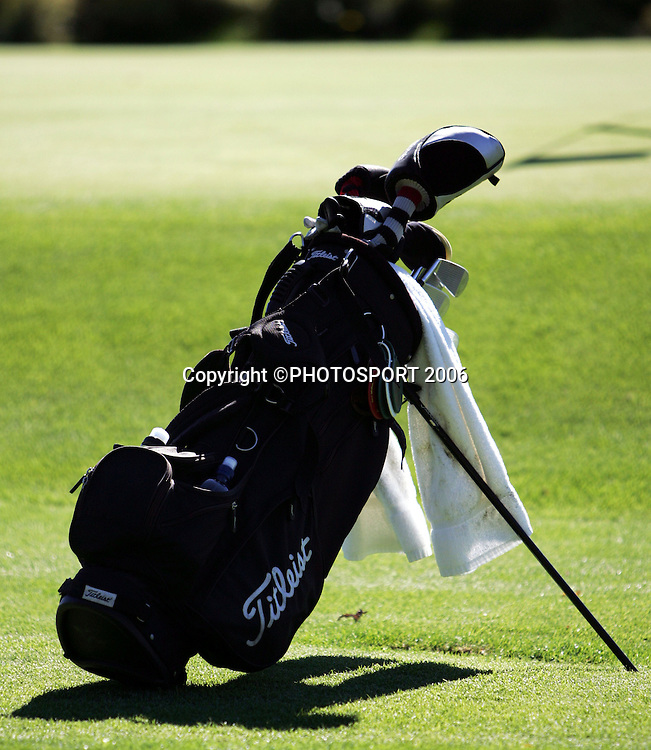 A golf bag during the final round of the New Zealand Mens Amateur Strokeplay Championship at Coringa Golf Course, Christchurch, on Thursday 6 April 2006. Photo: Tim Hales/PHOTOSPORT