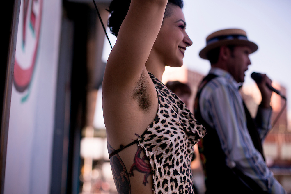 BROOKLYN, NY - AUGUST 18, 2016: Zoe Ziegfeld tries to attracts attendees in at the Coney Island Circus Sideshow in Brooklyn, New York. CREDIT: Sam Hodgson for The New York Times.