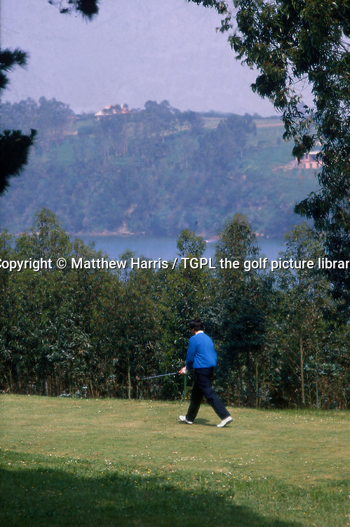 Seve BALLESTEROS (SPN) walks down a fairway of his beloved Pedrena golf course where he used to sneak on at night and play a few holes under the moonlight; during Spanish Open 1988,Royal Pedrena GC,Pedrena,Spain.
