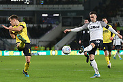 Derby County forward Tom Lawrence (10) shoots at goal  during the EFL Sky Bet Championship match between Derby County and Millwall at the Pride Park, Derby, England on 14 December 2019.