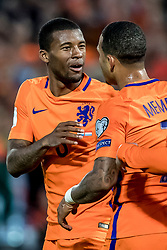 09.06.2017, De Kuip Stadium, Rotterdam, NED, FIFA WM 2018 Qualifikation, Niederlande vs Luxemburg, Gruppe A, im Bild Georginio Wijnaldum (L) of Netherlands has scored 3-0, Memphis Depay (R) // Georginio Wijnaldum (L) of Netherlands has scored 3-0, Memphis Depay (R) during the FIFA World Cup 2018, group A qualifying match between Netherlands and Luxemburg at the De Kuip Stadium in Rotterdam, Netherlands on 2017/06/09. EXPA Pictures © 2017, PhotoCredit: EXPA/ Focus Images/ Joep Joseph Leenen<br /> <br /> *****ATTENTION - for AUT, GER, FRA, ITA, SUI, POL, CRO, SLO only*****