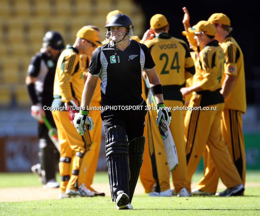 NZ's Scott Styris walks off after being dismissed.<br /> Fifth Chappell-Hadlee Trophy one-day international cricket match - New Zealand v Australia at Westpac Stadium, Wellington. Saturday, 13 March 2010. Photo: Dave Lintott/PHOTOSPORT