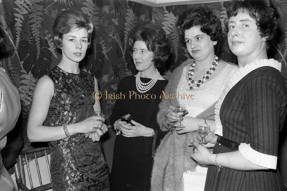26/03/1963<br /> 03/26/1963<br /> 26 March 1963<br />  O'Kennedy Brindley Limited Annual Staff Dinner at the Gresham Hotel, Dublin. At the dinner were (l-r): Mrs Niel O'Kennedy (wife of the director); Miss Barbara McGilton, receptionist; Miss Trudy Doyle, private secretary and Miss Gretta Hannon, secretery, accounts department.