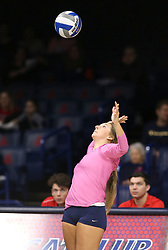 October 7, 2018 - Tucson, AZ, U.S. - TUCSON, AZ - OCTOBER 07: Arizona Wildcats libero / defensive specialist Victoria Svorinic (5) serves the ball during a college volleyball game between the Arizona Wildcats and the Washington State Cougars on October 07, 2018, at McKale Center in Tucson, AZ. Washington State defeated Arizona 3-2. (Photo by Jacob Snow/Icon Sportswire) (Credit Image: © Jacob Snow/Icon SMI via ZUMA Press)