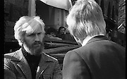 05/04/1978.04/05/1978.5th April 1978.Photograph of Duncan Stuart speaking with Noel Murray, Executive , Merchant Bank Ltd., at the protest against the demolition of Molesworth Hall.