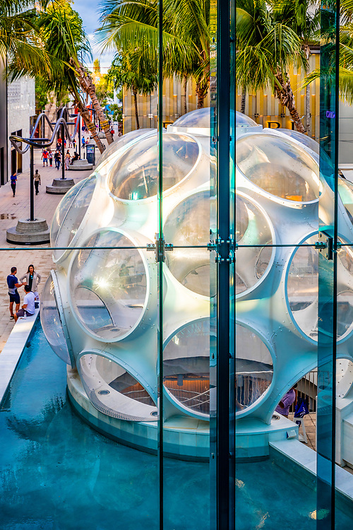 A geodesic dome designed by Buckminster Fuller is now the centerpiece of Miami Design District's  Palm Court shopping area