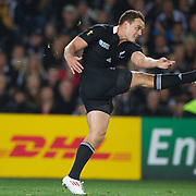 Israel Dagg, New Zealand, kicking during the New Zealand V France Final at the IRB Rugby World Cup tournament, Eden Park, Auckland, New Zealand. 23rd October 2011. Photo Tim Clayton...