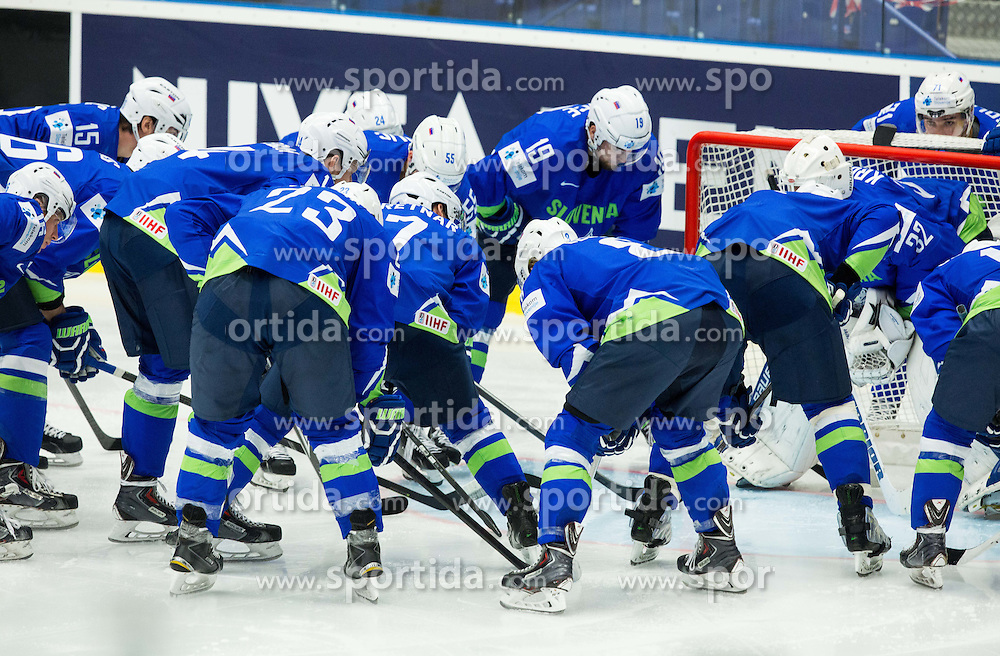 Team Slovenia prior to the Ice Hockey match between Finland and Slovenia at Day 7 in Group B of 2015 IIHF World Championship, on May 7, 2015 in CEZ Arena, Ostrava, Czech Republic. Photo by Vid Ponikvar / Sportida