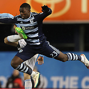 Jalil Anibaba, Sporting KC, in action during the New York City FC Vs Sporting Kansas City, MSL regular season football match at Yankee Stadium, The Bronx, New York,  USA. 27th March 2015. Photo Tim Clayton