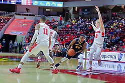 NORMAL, IL - November 03: Chrishawn Orange hits the lane defended by Isaac Gassman during a college basketball game between the ISU Redbirds  and the Augustana Vikings on November 03 2018 at Redbird Arena in Normal, IL. (Photo by Alan Look)