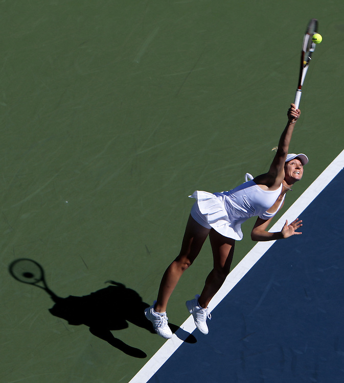 Agnes Szavay of Hungary serves to Nadia Petrova of Russia during their third round match on the sixth day of the 2007 US Open tennis tournament in Flushing Meadows, New York, USA, 01 September 2007.