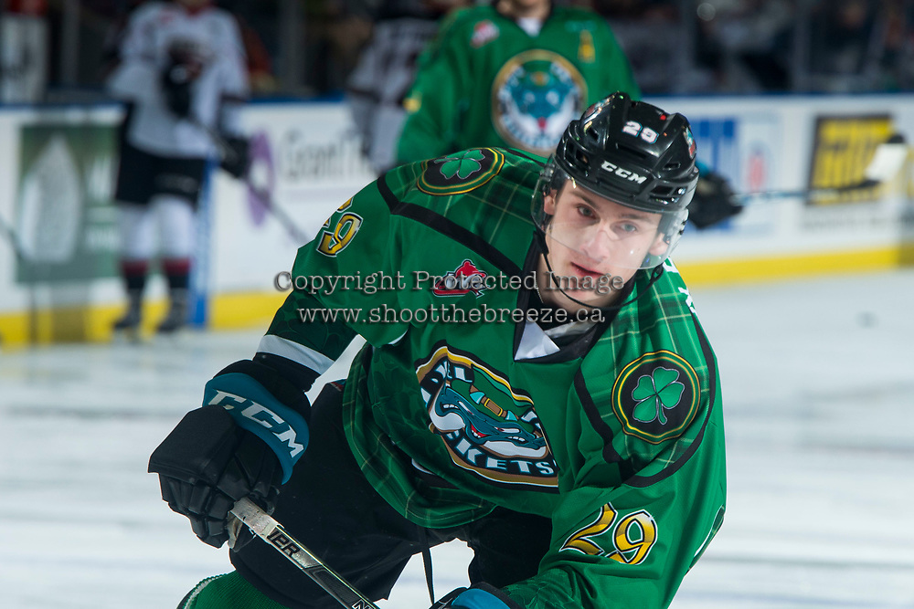 KELOWNA, CANADA - MARCH 18: Nolan Foote #29 of the Kelowna Rockets warms up against the Vancouver Giants  on March 1, 2018 at Prospera Place in Kelowna, British Columbia, Canada.  (Photo by Marissa Baecker/Shoot the Breeze)  *** Local Caption ***