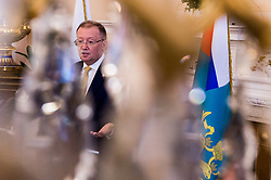 © Licensed to London News Pictures. 05/04/2018. London, UK.  Russian Ambassador DR. ALEXANDER YAKOVENKO gives a press conference in response to the poisoning of Sergei and Yulia Skripal in Salisbury and other current events. Photo credit: Ray Tang/LNP